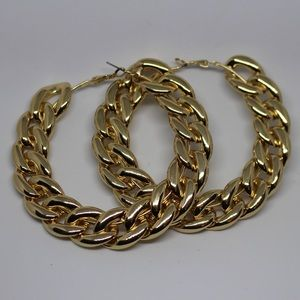 Gold cuban link oversized hook earrings